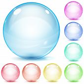 image of orbs  - Set of multicolored glass spheres with shadows on white background - JPG