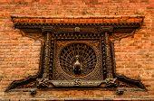Detail Of Carved Peacock Window In Bhaktapur, Nepal