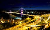 stock photo of hong kong bridge  - Suspension bridge in Hong Kong - JPG