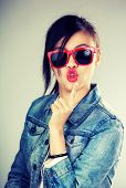 Asian woman pout lip with sunglasses
