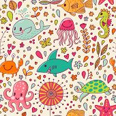 Cute seamless pattern with underwater live: fishes, whale, crab, starfish, octopus, jellyfish, sea horse and shark. Vector tropical background. The sea travel design.