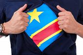 Young Sport Fan Opening His Shirt And Showing The Flag His Country Republic Democratic Of Congo