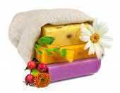 Soap In Sack With Flowers And Berries