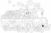 stock photo of cony  - Easter rabbit on a train carrying decorated Easter eggs in a carriage - JPG