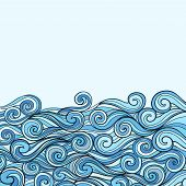 picture of rough-water  - Blue Sea Wave background vector illustration with place for text - JPG