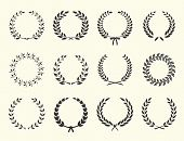 pic of medal  - large set of silhouettes laurel wreaths on white background vector illustration - JPG