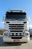Front View Of White Scania Truck