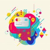 Bank Cards On Abstract Colorful Spotted Background With Differen