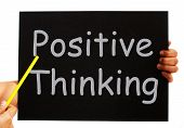 Positive Thinking Blackboard Shows Optimism And Bright Outlook