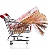 One Million Banknotes Rubles of the Russian Federation in Shopping basket cart - isolated on white b