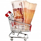 Shopping basket cart One million Russian Rubles - isolated on white background