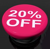Twenty Percent Button Shows Sale Discount Or 20 Off