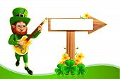 Leprechaun for patrick's day with wooden sign