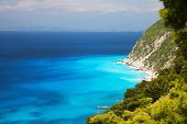 Greece, Lefkada cliffs and blue sea waters