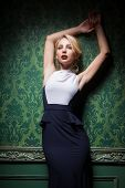 Sexy woman wearing fashion long dress in a stylish room