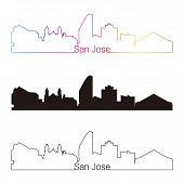 San Jose Skyline Linear Style With Rainbow