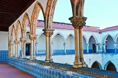 image of templar  - Courtyard of the Templar Castle in the Portugal City of Tomar - JPG