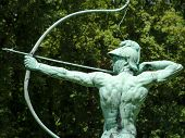 foto of archer  - Archer statue in Sanssouci Park Potsdam Germany Europe - JPG