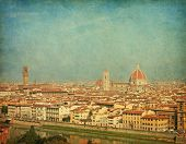 Florence skyline city, Tuscany, Italy. Added paper texture