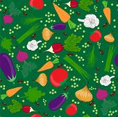 vegetables group on light green seamless pattern