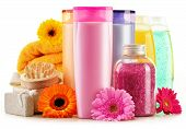image of personal hygiene  - Composition with plastic bottles of body care and beauty products - JPG