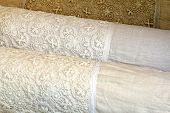 Hand-made Vintage Linen Pillow Cases with Cotton Crochet lace, all natural product