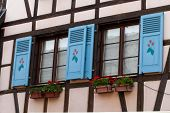 Window of a house in Eguisheim Alsace France