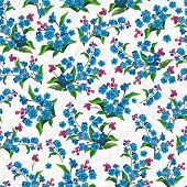 Stylish Decorative Blue seamless pattern. Elegance vector illustration texture with forget-me-not
