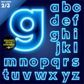 Vector illustration of abstract neon tube alphabet for light board. Ultra bold Blue