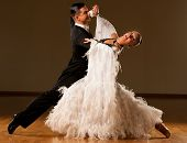 Professional Ballroom Dance Couple Preform An Exhibition Dance