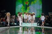 ZAGREB, CROATIA - MARCH 28, 2014: Fashion models wearing clothes designed by Marina Design and Marij