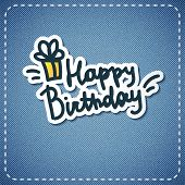 pic of denim wear  - vector happy birthday text on denim texture - JPG