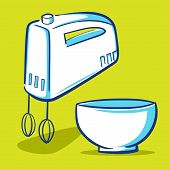 image of cake-mixer  - Vector illustration of a kitchen mixer and a mixing bowl - JPG