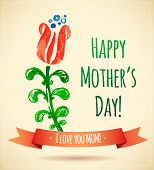 stock photo of i love you mom  - Watercolor Flower Happy Mother - JPG