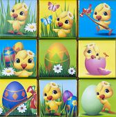 stock photo of duck egg blue  - Collage of colorful easter beauty pictures - JPG