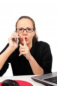Businesswoman Making Shhh Gesture