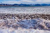 Lage Laberge Ice Floes Drifting Yukon Canada