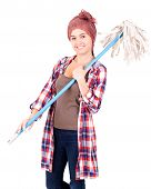 Cleaner Woman With Mop