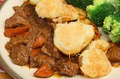 Beef stew with scalloped potato topping.