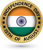 Indian Independence Day 15Th Of August Gold Label, Vector Illustration