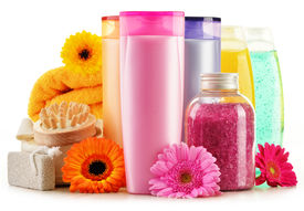 picture of body-lotion  - Composition with plastic bottles of body care and beauty products - JPG