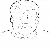 Outline Of Man With Eyes Closed