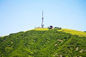 stock photo of ropeway  - The station of ropeway and tower are in city Pyatigorsk - JPG