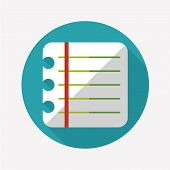 Notebook Paper Flat Icon With Long Shadow,eps10