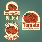 Tomato juice labels set