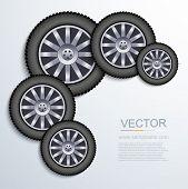 Vector modern wheels background.