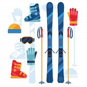 stock photo of ski boots  - Skiing equipment icons set in flat design style - JPG
