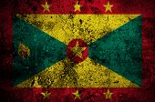Grunge Flag Of Grenada With Capital In St. George's