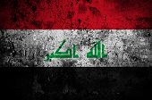 image of rebel flag  - grunge flag of Iraq with capital in Baghdad - JPG