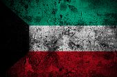 Grunge Flag Of Kuwait With Capital In Kuwait City
